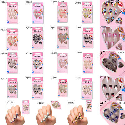24xDesigned Donna Manicure Unghie False Finte French Completo Nail Art Glitter