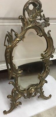 National Brass Iron Works Art Nouveau Mirror Beveled Bronze?, Flowers Whiplash