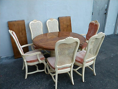 French Parquet Painted Dining Table with Six Caned Chairs and Two Leaves 6167