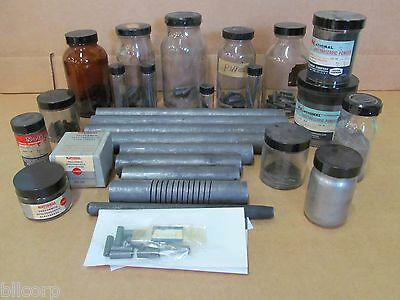 Lot Of 28 Carbon Rods Assorted Sizes And Spectroscopic Powders & Electrodes