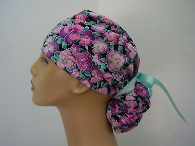 Surgical Scrub Hat Ponytail Style Cap - Multi color Pansies