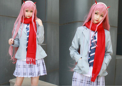 DARLING in the FRANXX ZERO TWO Uniform Outfit Set Cosplay Costume+Free Scarf Tie