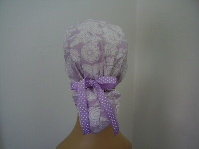 Surgical Scrub Hat Ponytail Style Cap - Lilac White Floral