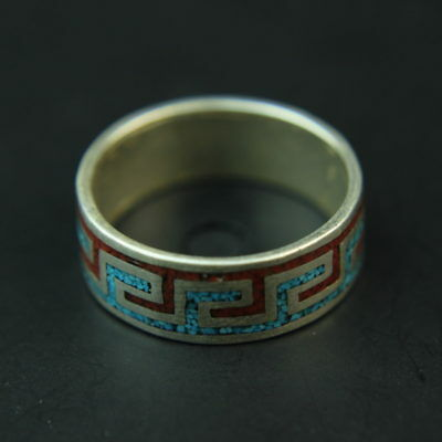 Native vintage Navajo turquoise coral inlay sterling silver ring sz 11.5
