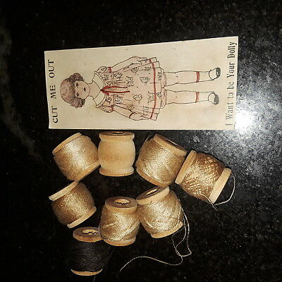1880's J & P Coats Sewing Thread Cutout Advertising Trade Card Little girl doll