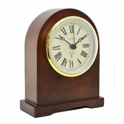 Acctim Gold Bezel Dark Wood Finish Radio Control Mantel Clock Vintage Style