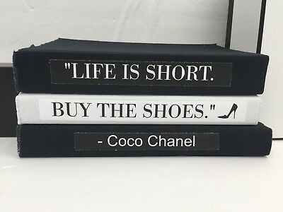 Coco Chanel Quote Life Is Short Buy The Shoes Coffee Table Book Set Black White