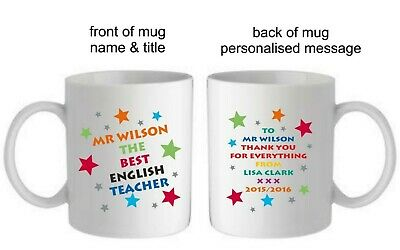 Personalised Best Teacher School Mug Cup End Of Term Thank You Leaving Gift