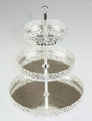 3-Tier Silver Plated Metal Cake Stand Paandan Tray Food Platter Tea Party Tray