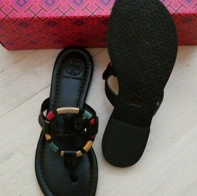 71241640ae7da6 NEW Tory Burch Miller Embroidered Veg Leather Thong Sandal Black Multi Size  9.5