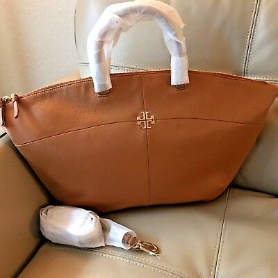 91f8404a892 NWT Tory Burch IVY Slouchy Satchel Shoulder Bag Bark Pebbled Leather $495