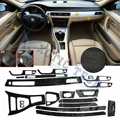 5D Interior Glossy Carbon Fiber Wrap Trim Decal For BMW 3 Series E90 2005-2013