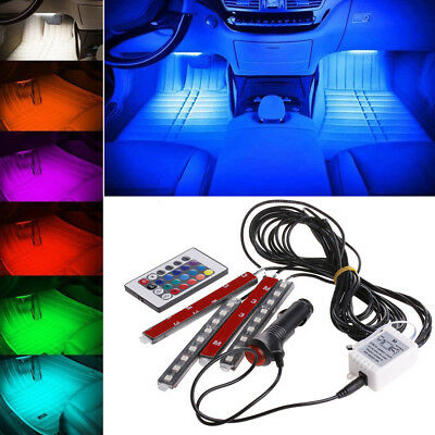 4pcs 9LED Colorful RGB Remote ControlCar Interior Floor Atmosphere Light Strip