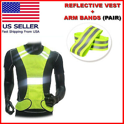 Outdoor Running Cycling Walking Safety Visibility Reflective Vest + 2 Arm Bands