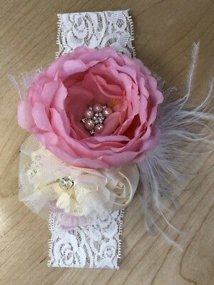 Ostrich feather lace baby headband pink white cream