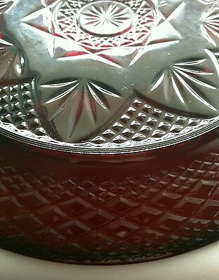 """Cris D'Arques Durand ANTIQUE RUBY RED 5 Sectioned 10"""" Plate Relish"""