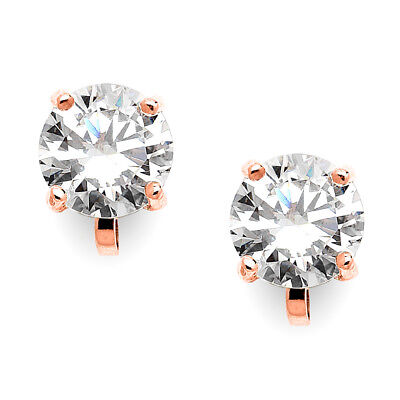 Mariell Rose Gold Plated 2 Carat CZ Clip-On Earrings - 8mm Round Solitaire Studs