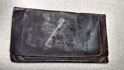 Antique Vintage Waxed Wax Oil Leather Money Documents Passport Wallet Holder