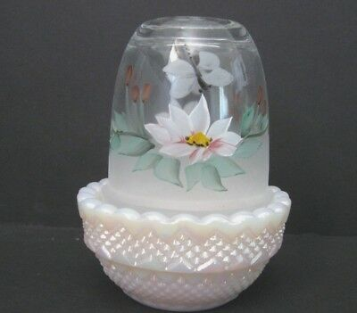 MOSSER GLASS GLIMMER LIGHT HP WATERLILIES, DRAGON FLY on IRIDIZED TUSCAN ROSE