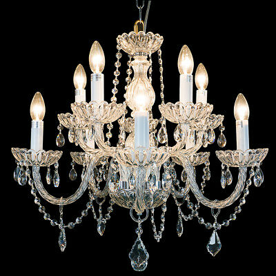 Starthi Crystal 10 Light Chandelier Antique Ceiling Light Fixture H 22'' W 25''