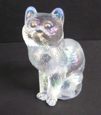 MOSSER  IRIDIZED CRYSTAL CARNIVAL GLASS SITTING CAT, KITTY NEW w/ LABEL
