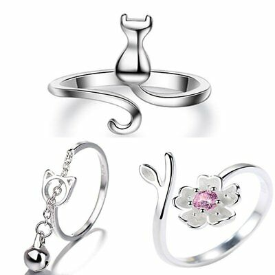 Fashion Women Silver Cute Animal Flower Cat Design Ring Adjustable Gift Jewely