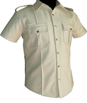 Men Hot Genuine Real RED Goat LEATHER Police Uniform Shirt BLUF Gay