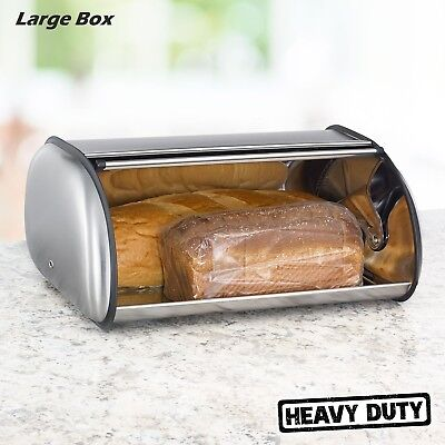 LARGE STAINLESS STEEL Bread Box 2 Loaf Storage Metal Kitchen Food