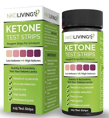 Ketone Test Strips by NKD Living (125 Test Strips) *Accurately Measure Ketones*