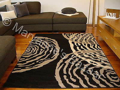 Black Grey Modern Rug Extra Large Floor Mat Carpet 330 x 240 FREE DELIVERY 1216