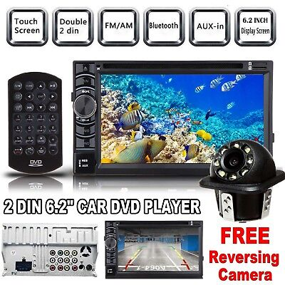 "6.2"" Double DIN Car CD DVD Player Stereo Radio Bluetooth USB SD In Dash + Camera"