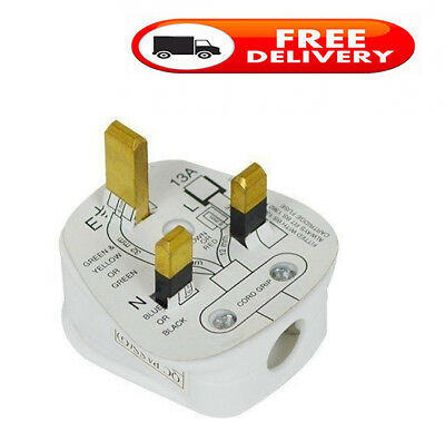 Single / Pack Standard UK Fused 13A 13 Amp Mains 3 Pin Houshold Plug White