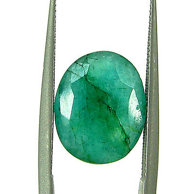 3.85 Ct Natural Certified Green Emerald Loose Oval Colombian Gemstone - 109015