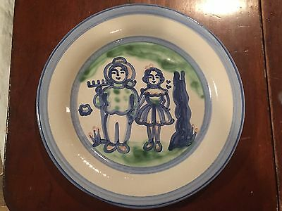 "Superb MA Hadley Platter Farmer And Wife Country Large Round Plate 12.75"" Signed"