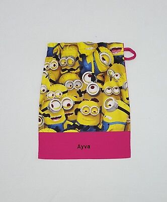 Free Name Despicable Me Minion Pink Personalised Embroidery Library Bag Fd
