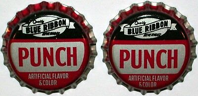 Soda pop bottle caps BLUE RIBBON PUNCH Lot of 2 cork lined unused new old stock