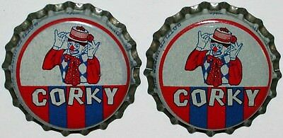 Soda pop bottle caps CORKY Lot of 2 with clown cork lined unused new old stock