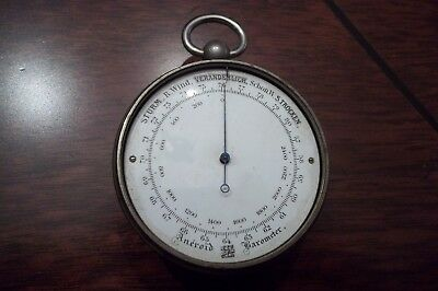 19TH Century German Cased Pocket Barometer Compass & Thermometer: GREAT LOOKING!