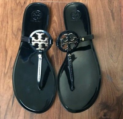 aa06d1f7298d Tory Burch Mini Miller Black Jelly Flat Sandals Women s Size 9 M.EUC