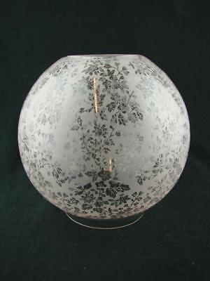 Antique Fully Etched Foliate Glass Globe Duplex Oil Lamp Shade, Very Pale Pink