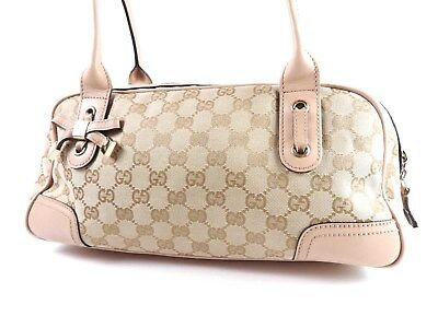 de430e9b0ca AUTH GUCCI PRINCY GG Canvas Leather Shoulder Hand Bag Beige Pink 161720  A-6810 -  290.00
