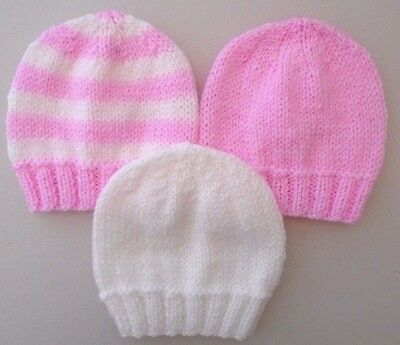 542f45c986d 3 Pack 5-7lbs Premature Baby Tiny Girls Hats Hand Knitted Hats Pink White  Stripe