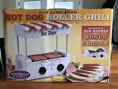 Nostalgia Old Fashioned Electric Hot Dog Roller Cooker Bun Warmer Red White NIB