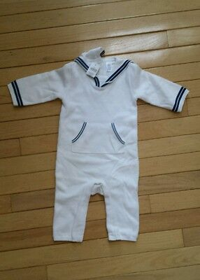 a24f6f1fa9d1 NWT Baby Gap sailor sweater romper one piece white with navy nautical 3-6  months