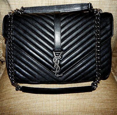 1d5e97584128 Authentic Ysl Yves Saint Laurent Large College Monogram Bag Black With  Silver