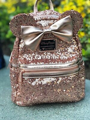 Rose Gold Minnie Mouse Loungefly Backpack Disney Parks Ears Disneyland. 41442a71fd