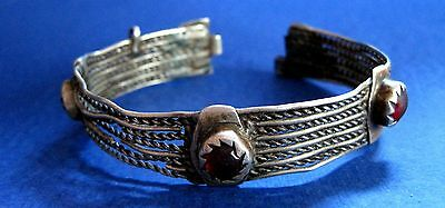Medieval  Bracelet Silver With 3 Stone   Hand Made  - 19 Century