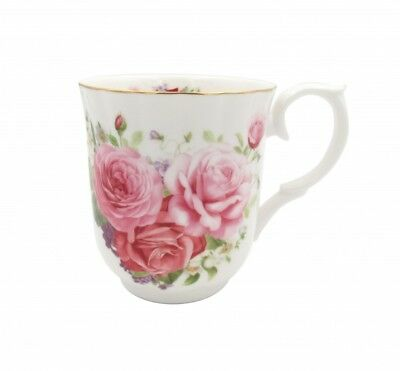 New Old Fashion Pink Rose 315cc Mug Fine Bone China Flower Coffee Tea Cup w Box