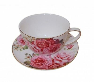 Old Fashion Pink Rose Breakkie Cup and Saucer Set w Box Fine Bone China Gift