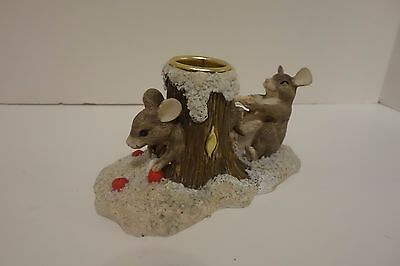 Silvestri Charming Tails Mouse in a Treehole Taper Candle Holder